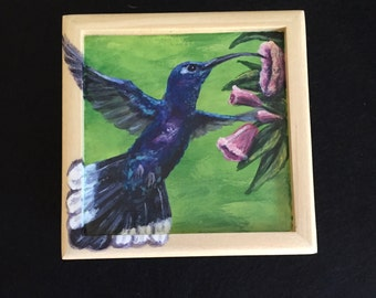 Hummingbird hand painted small box