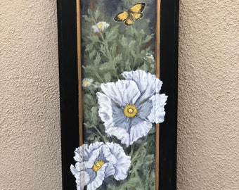 Matilija Poppies Handpainted on Vintage Cabinet Door OOAK