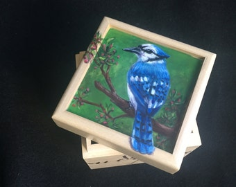 Hand painted Blue Jay Small Box