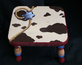 Giddy Up Hand Painted Western Footstool