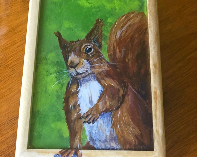 Hand Painted European Red Squirrel small box