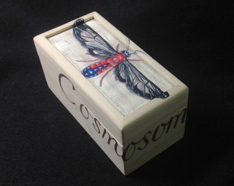 Scarlet bodied Wasp Moth hand painted small box