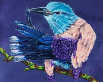 Roller Bird painted on wood panel