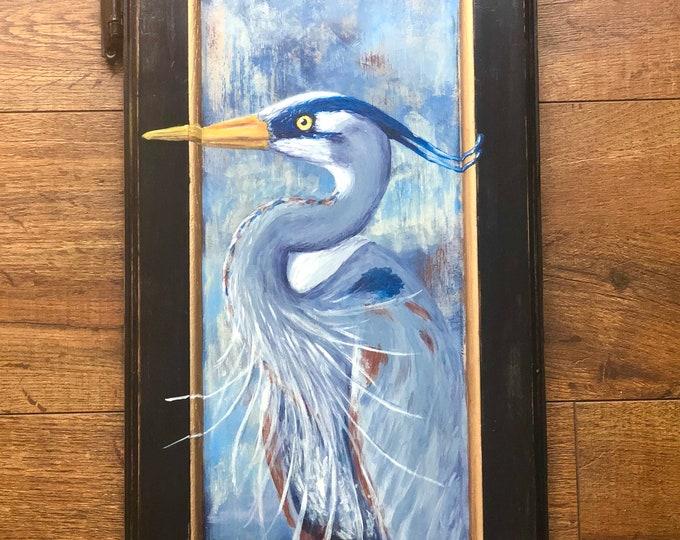 Great Blue Heron Hand Painted Vintage Cabinet Door OOAK