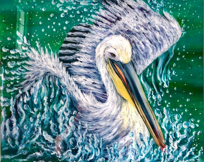 White pelican painting on wood panel