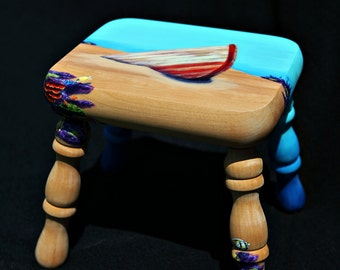 Hand painted underwater themed footstool