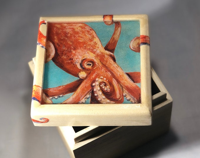 Hand painted Octopus Wood Box