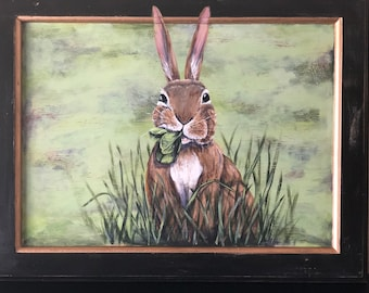 Nom Nom Nom: Handpainted Wild Rabbit on Repurposed Cabinet Door