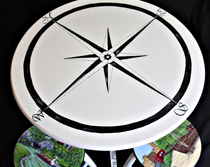 Custom Painted Dining Table with Travel Theme