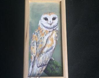 Hand Painted Barn Owl Small Box