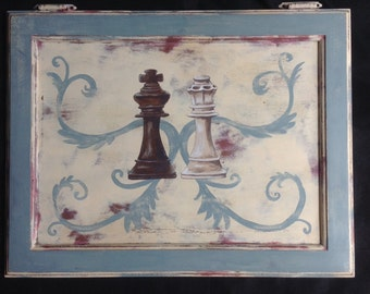Chalk Painted Upcycled Cabinet Door Wall Art