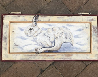 Boundless--Handpainted holiday bunny on reclaimed cabinet door OOAK
