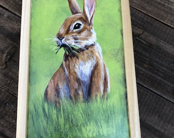 Handpainted Grazing Bunny Small Box