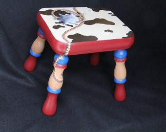 Hand painted Western themed footstool