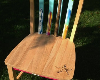 Hand painted girl's surfboard themed accent chair