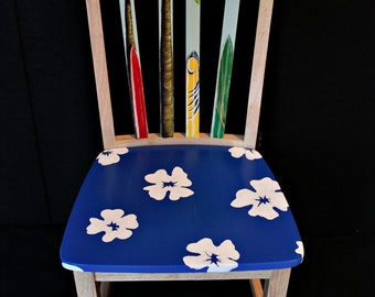 Hand painted Hawaiian print surfboard chair