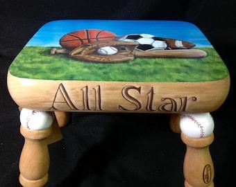 Sports Theme Child's Footstool