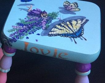 Fairies and Butterflies Handpainted Footstool