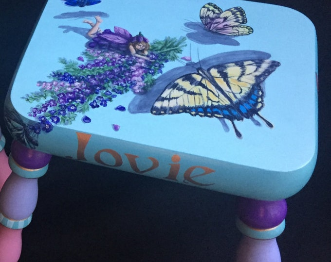 Fairies and Butterflies Handpainted Footstool