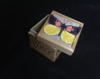 California Dogface Butterfly Handpainted Small Box