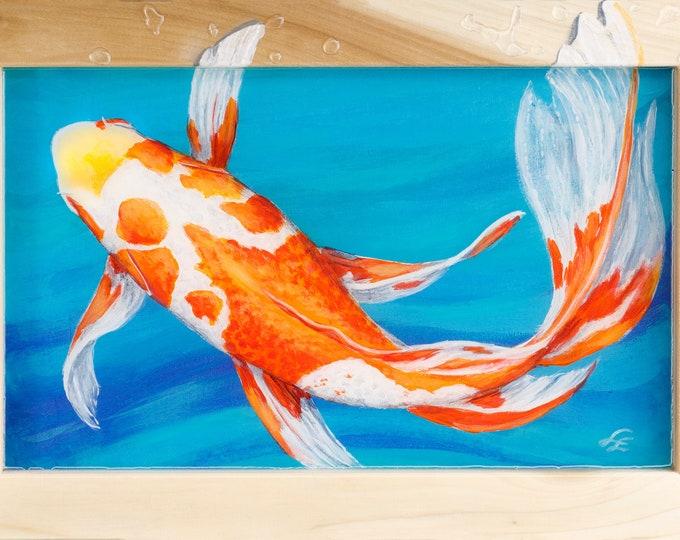 Orange and White Koi Painting Wall Art