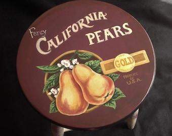 Handpainted Kitchen Stool Vintage Fruit Label Inspired