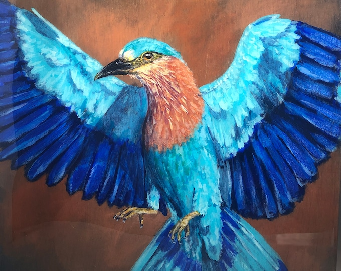 "Indian Roller Bird Acrylic Painting on 12"" x 12"" birch panel"