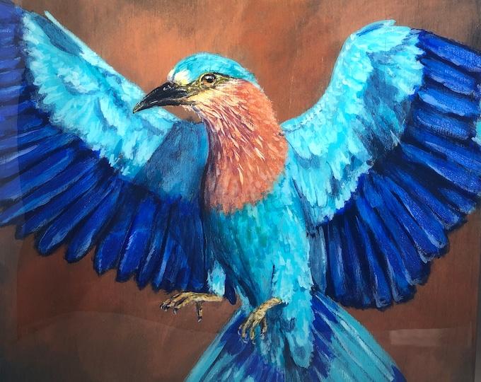 "Indian Roller Bird Acrylic Painting on 12"" x 12"" birch panel"