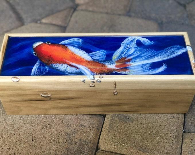 Gorgeous Goldfish hand painted wood box