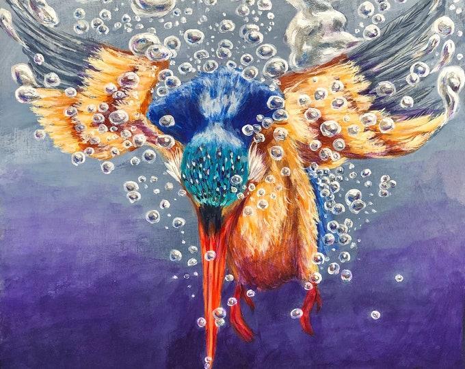 Diving Kingfisher original painting