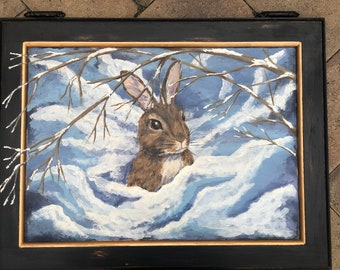 Snow Bunny--handpainted up cycled cabinet door art OOAK