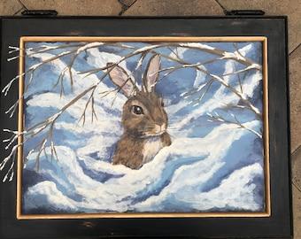 Snow Bunny--handpainted up cycled cabinet door art OOAK