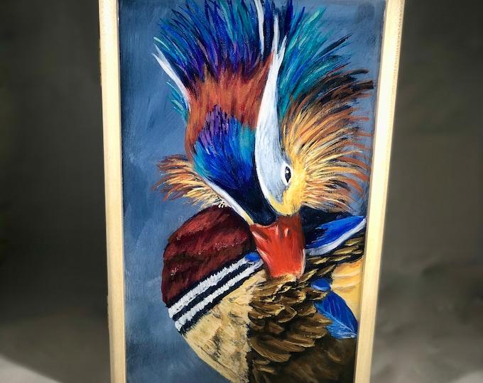 Mandarin Duck hand painted wood box