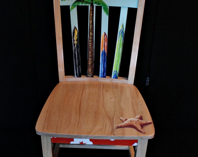 Hand painted surfboard themed chair