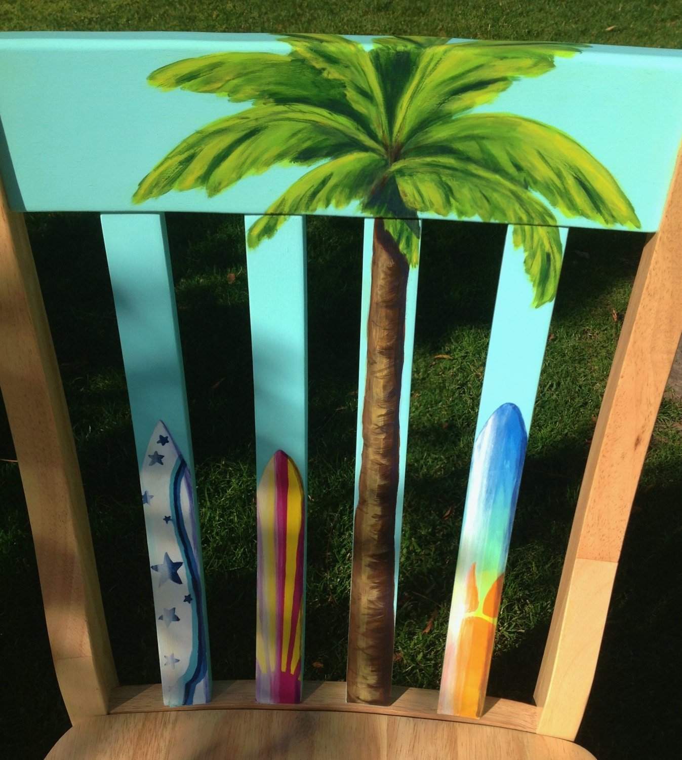 Superb Hand Painted Girls Surfboard Themed Accent Chair Caraccident5 Cool Chair Designs And Ideas Caraccident5Info