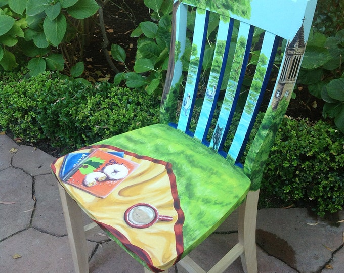 Your Life Story hand painted on an accent chair