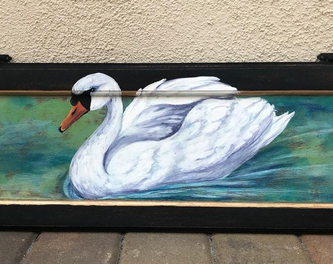 Handpainted Swan on Vintage Cabinet Door OOAK