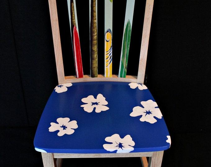 Hand painted Hawaiian print surfboard chair