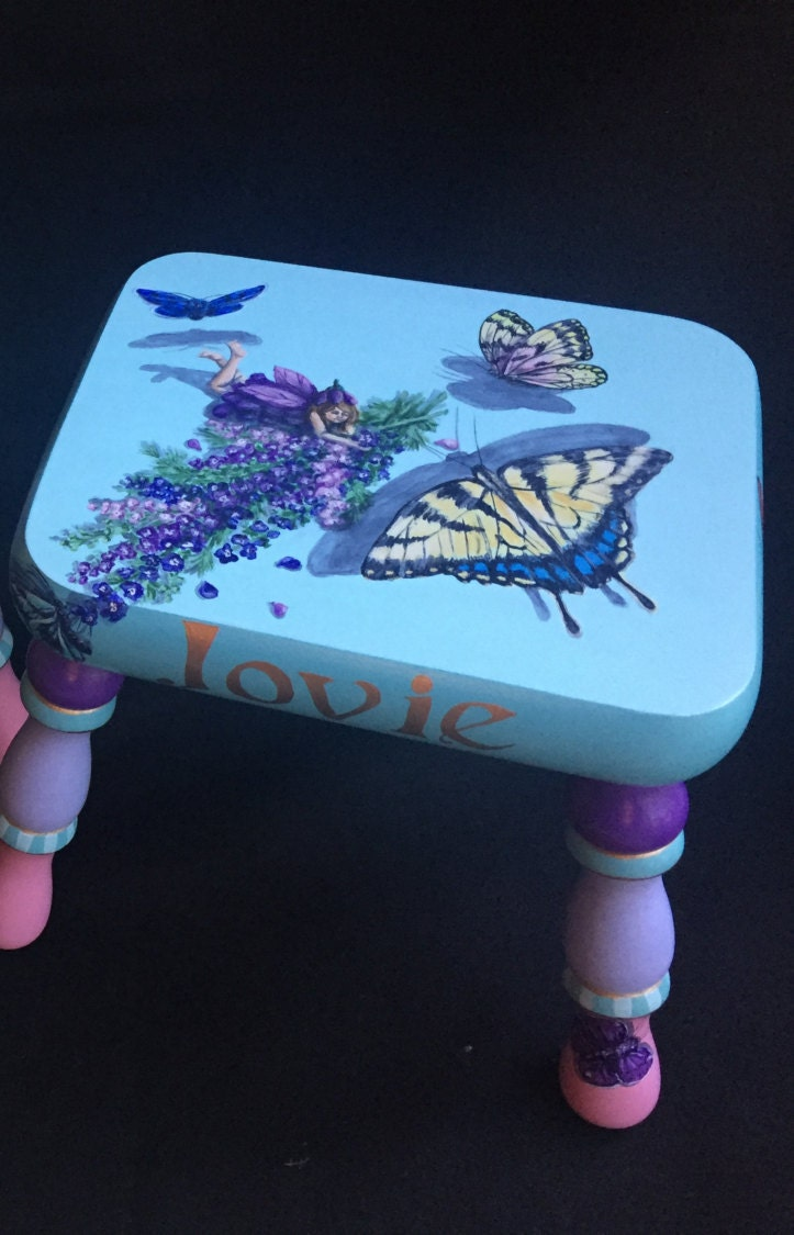 Superb Fairies And Butterflies Handpainted Footstool Machost Co Dining Chair Design Ideas Machostcouk