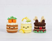 CROCHET PATTERNS - Carrot Cake and Lemon Meringue Cake and Chocolate Reindeer Cake - Amigurumi food pattern toy food pretend play Christmas