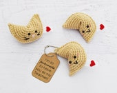 Amigurumi CROCHET PATTERN - Fortune Cookie Keychain - PDF, play food, crochet food, teacher appreciation gift, key chain, pretend play toy