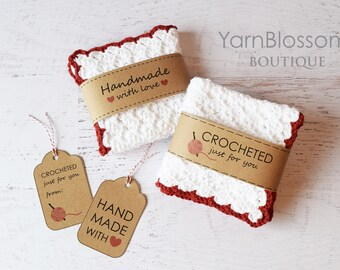 Crochet PATTERN Country Kitchen With BONUS Printable Gift Tags Dishcloth Strawberry Cake Play Food Pretend PDF Pattern
