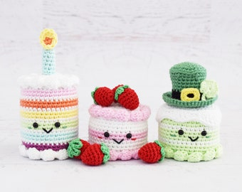 CROCHET PATTERNS - Rainbow Birthday Cake and Strawberry Dream Cake and St Patrick's Day Cake - Amigurumi food pattern toy food pretend play