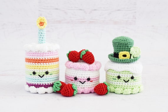Crochet Patterns Rainbow Birthday Cake And Strawberry Dream Etsy