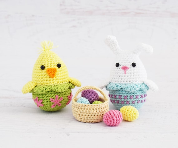 Crochet Patterns Easter Egg Bunny And Chick Amigurumi Etsy