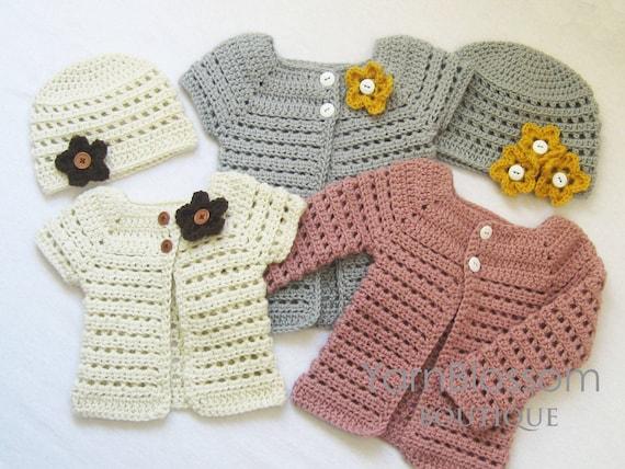 Crochet Pattern Toddler Cardigan And Beanie Crochet Patterns Etsy