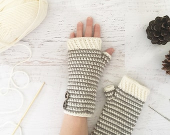 CROCHET PATTERN - Snowfall Fingerless Gloves - crochet mittens, crochet gloves, winter gloves, women's gloves, pattern, PDF digital download