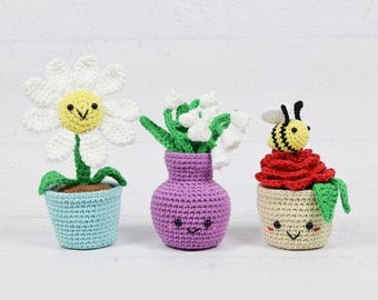 Amigurumi CROCHET PATTERNS - Includes all three patterns: Potted Daisy, Lily of the Valley, Potted Rose