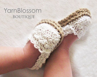 CROCHET PATTERN - Baby Girl Espadrille Shoes - crochet shoes, crochet booties, baby girl shoes, crochet pattern, PDF pattern