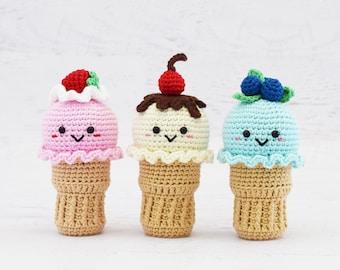 CROCHET PATTERN - Summertime Ice Cream Cones - PDF, play food, ice cream crochet food, amigurumi food, summer childrens toy, crochet toy